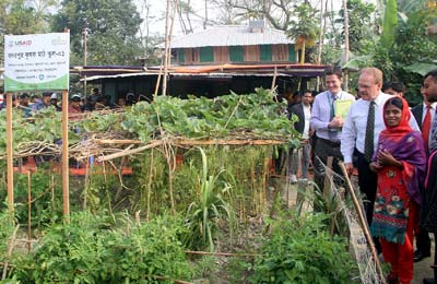 Mozena visited USAID financed projects in Patuakhali and Barguna