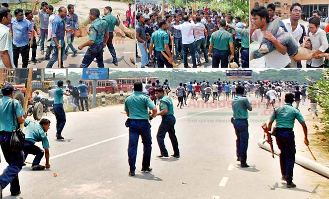 17 hurt in student-cop clash in Barisal