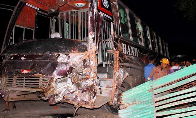 Bus plunged to bazaar: 6 killed 20 injured