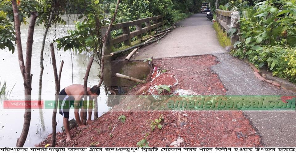বানারীপাড়ায় ব্রিজ খালে বিলীনের পথে..